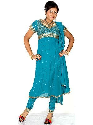 Turquoise Anarkali Suit with Embroidered Sequins All-Over