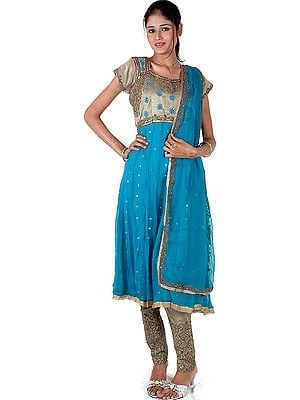 Turquoise and Khaki Anarkali Choodidaar Suit Beaded at Front