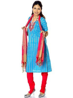 Turquoise and Magenta South-Cotton Suit with Embroidery on Neck