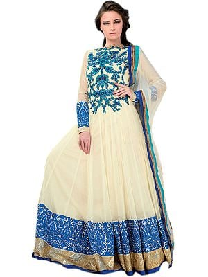 Vanilla-Custard Bridal Flared Anarkali Suit with Ari Embroidery in Blue Thread