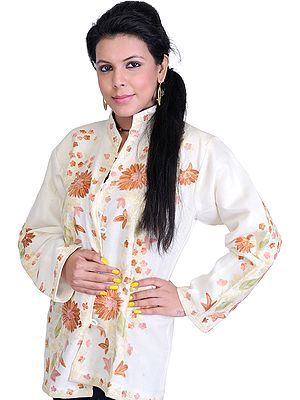 Vanilla-Ice Kashmiri Jacket with Ari Embroidered Flowers in Brown Thread