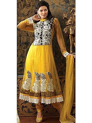 Vibrant-Yellow Designer Anarkali Suit with Floral Embroidery on Neck and Crochet Border
