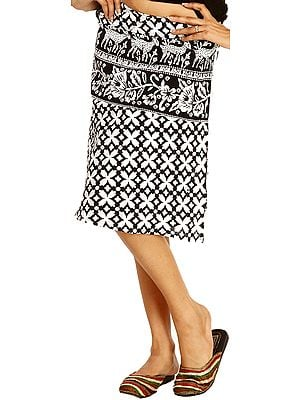 White and Black Wrap-around Mini-Skirt with Printed Deers and Flowers