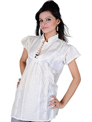 White Kurti With All-Over Chikan Embroidered Flowers and Paisleys