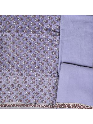 Wisteria-Blue Salwar Kameez Banarasi Handloom Fabric with Woven Flowers and Patch Border