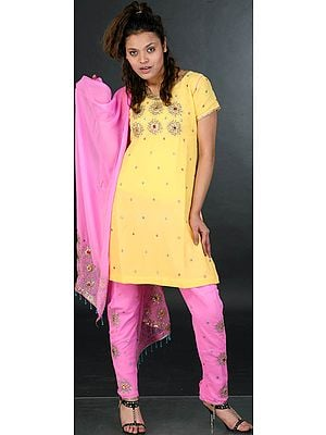 Yellow and Pink Chudidar Suit with Golden Beadwork and Sequins