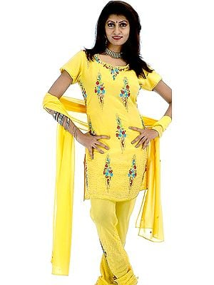 Yellow Chudidar Suit with Floral Embroidery and Sequins