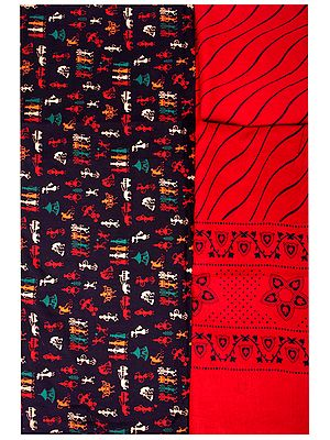 Salwar Kameez Fabric with Printed Village Folk Motifs