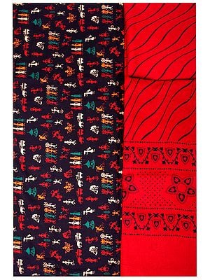 Salwar Kameez Fabric with Printed Village Folk Motifs