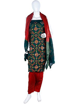 Salwar Kameez Bandhani Tie-Dye Dress Material from Gujarat with Embroidery and Mirrors