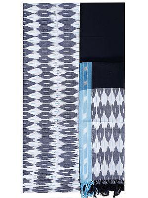 Smoky-Gray Salwar Kameez Fabric from Pochampally with Ikat Weave