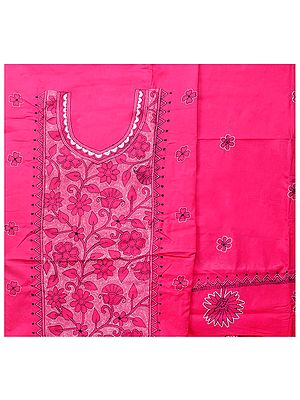 Hot-Pink Salwar Kameez Fabric from Kolkata with Kantha Hand-Embroidery