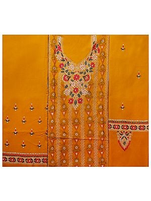Marigold  Salwar Kameez Suit from Kolkata with Kantha-Embroidery by Hand