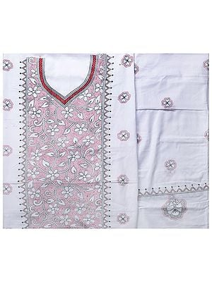 Off-White Salwar Kameez Suit from Kolkata with Kantha-Embroidery by Hand
