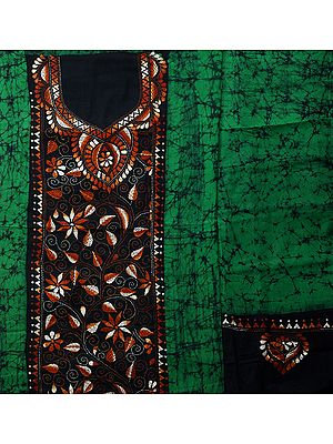 Salwar Kameez Bandhani Tie-Dye Dress Material from Gujarat with Embroidery