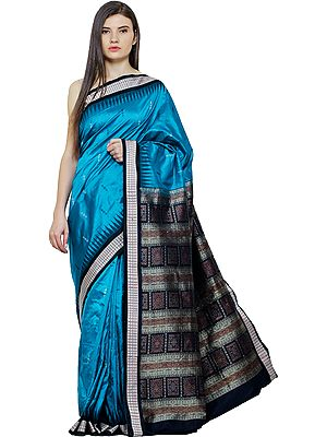 Blue-Jewel Bomkai Sari from Orissa with Hand-Woven Folk Motifs and Temple Border