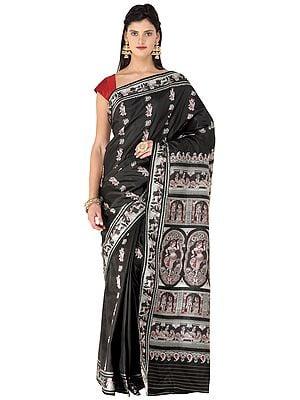 Black-Beauty Baluchari Handloom Sari from Bengal with Hand-woven Courtly Apsaras and Ramayana Episodes on Pallu