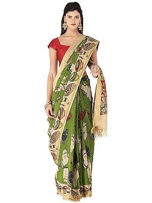 Cedar-Green Kalamkari Printed Cotton Sari with Dance Hand-Mudra Motifs All-Over