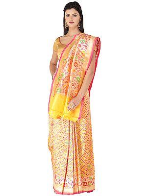 Amber-Yellow Handloom Banarasi Sari with Brocaded Hand-woven Geometric Motifs All-over and Heavy Pallu
