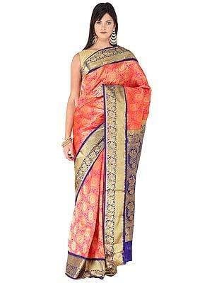 Fiesta-Orange Brocaded Silk Sari from Bangalore with Peacocks on Border and Heavy Pallu