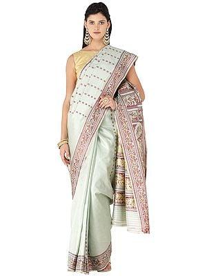 Frosty-Green Baluchari Handloom Sari from Bengal with Hand-woven Mahabharata Episodes on Pallu