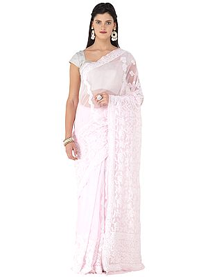 Cherry-Blossom Sari from Lucknow with Chikan Hand -Embroidery