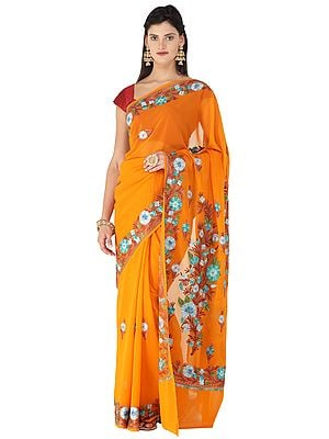 Orange-Ochre  Sari from Kashmir with Ari-Embroidered Multicolor Flowers