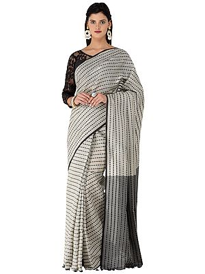 Black and Almond Handloom Cotton Sari from Kolkata with Woven Stripes and Bootis All-over