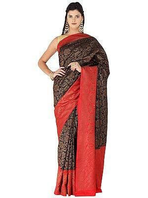 Black-Onyx Banarasi Sari with Zari Woven Red Pallu and Border