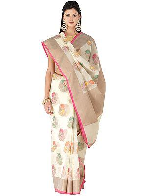 Banarasi Kora Silk Sari with Multi-coloured Woven Flowers All-over