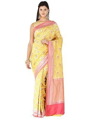 Symphonic-Sunset Handloom Banarasi Sari with Brocaded Floral Motifs All-over and Heavy Pallu