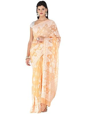 Salmon-Buff Lukhnavi Chikan Sari with Floral Hand-Embroidery All-over