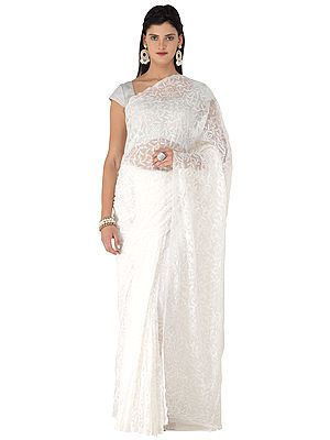 Snow-White Sari from Lucknow with Chikan Embroidery by Hand