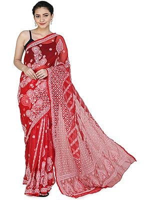 Rubocondo Lukhnavi Chikan Sari with Floral Hand-Embroidery All-over