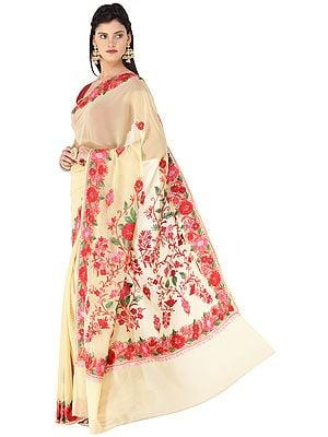 Straw Sari from Kashmir with Ari-Embroidered Multicolor Flowers
