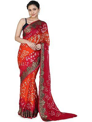 Spicy Orange Bandhani Sari from Rajasthan with Zari Weave on Border