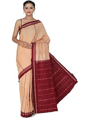 Pastry Shell Handloom Sari from Sambhalpur with Border and Ikat Weave on Pallu