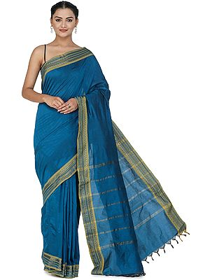 Lyons Blue Kanji-Cotton Sari with Zari-Woven Border and Tassels