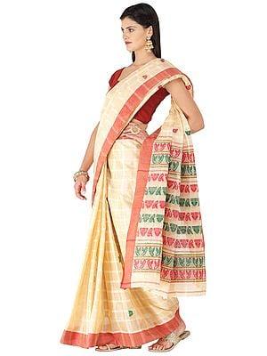 Hazelnut Sari from Assam with Woven Motifs on Anchal