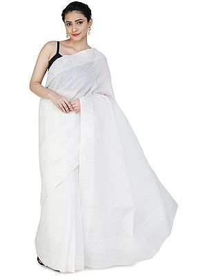 Snow White Sari from Lucknow with Chikan Hand-Embroidered paisley and Applique Work