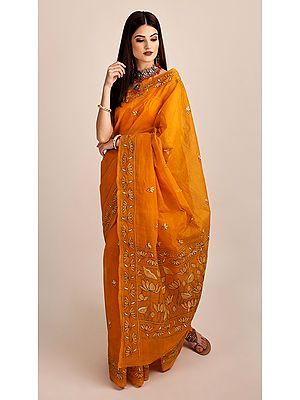 Radiant-Yellow Pure Cotton Hand-Embroidered Kantha Sari from Kolkata