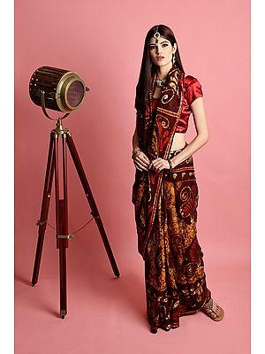 Brown Pure Batik  Cotton Sari from Madhya Pradesh