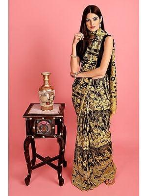 Black & Beige Hand-Painted Kalamkari Sari from Telangana