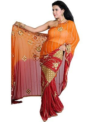 Amber and Red Wedding Sari with All-Over Embroidered Sequins and Beads