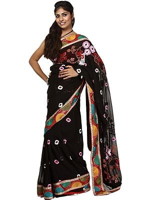 Anthracite-Black Designer Sari with All-Over Multi-Color Embroidery and Sequins