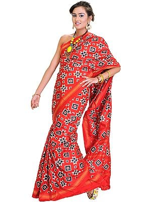 Aurora-Red Authentic Double Ikat Sari Hand-woven in Pochampally Village