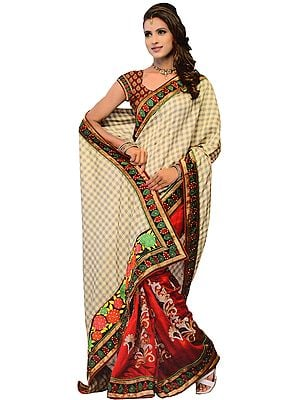 Beige and Burgundy Fusion Sari with Floral Anchal and Patch Border