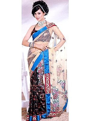 Beige Designer Sari with Embroidered Flowers and Patch Work