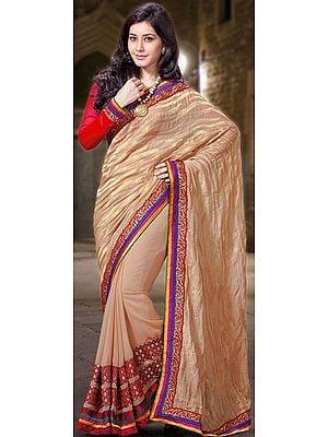 Beige Designer Sari with Golden Thread Weave and Tri-Color Patch Border