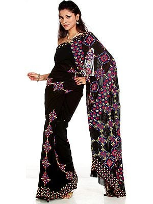 Black Chikan Sari from Lucknow with Hand-Embroidered Paisleys